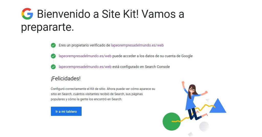 Google site kit proceso finalizado
