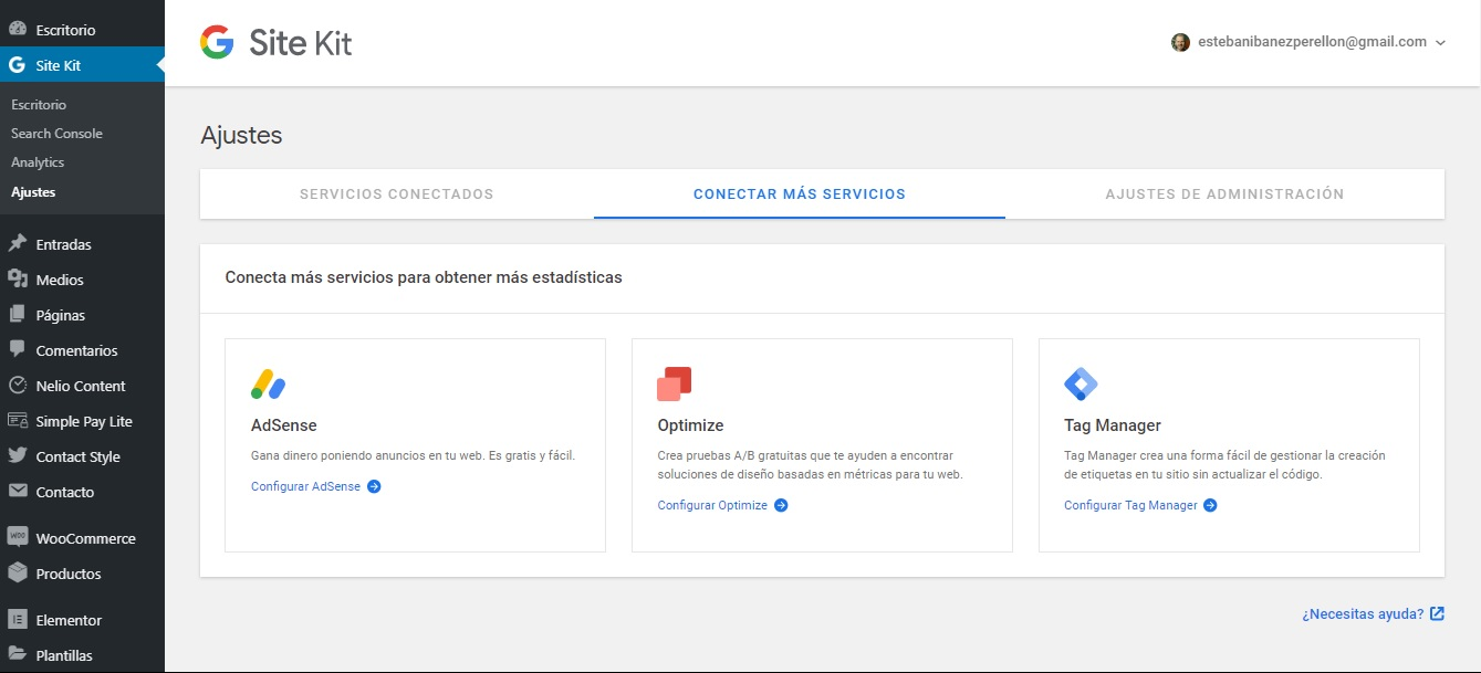 Google site kit opciones