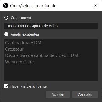 captura añadir dispositivo captura video OBS