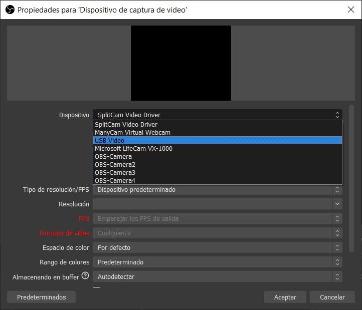 captura añadir dispositivo captura video b OBS