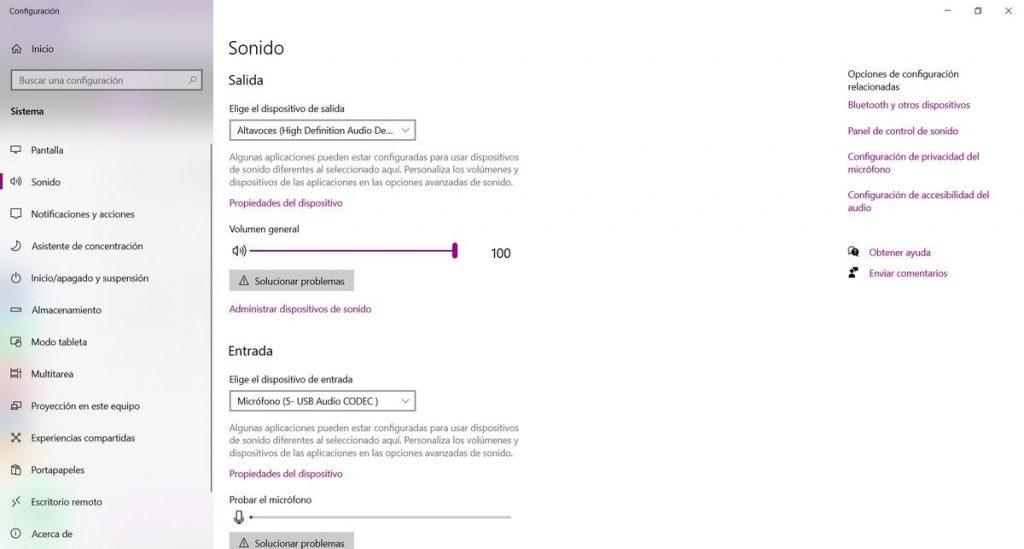 captura pantalla configuracion de sonido b