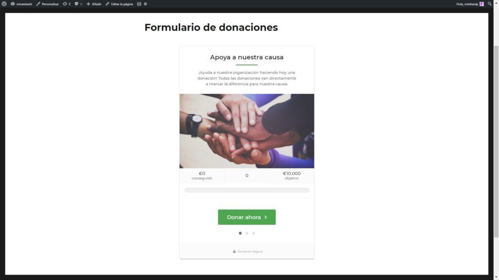 wordpress 2021 Donaciones GiveWP Inicio