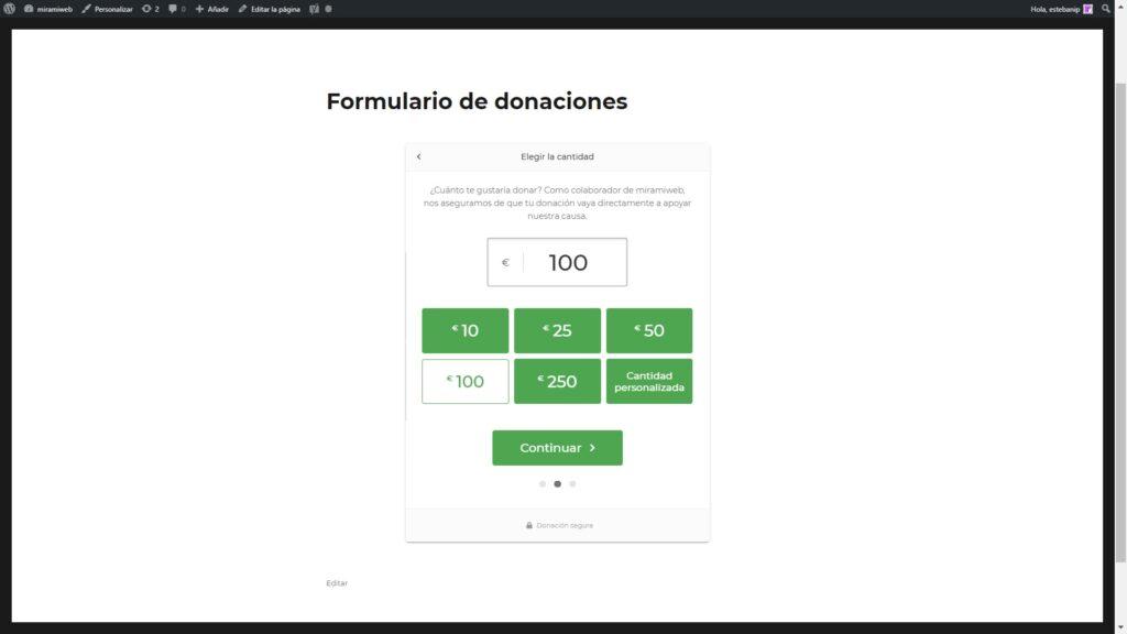 Pluguin GiveWP cantidades donación
