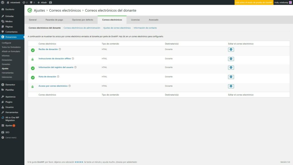 Pluguin GiveWP ajustes de Email