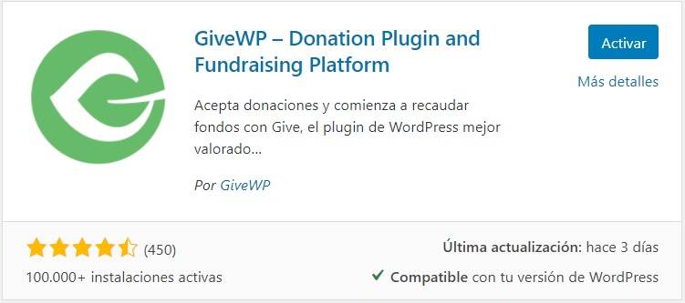 Pluguin de donaciones en wordpress 2021 GiveWP pluguin